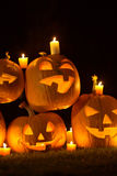 Jack-o-lanterns at Night Stock Photography