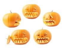 Jack-o'-lanterns oranje geïsoleerd pompoenhoofd Royalty-vrije Stock Afbeeldingen