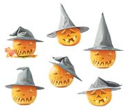Jack-o'-lanterns pumpkin in a hat Stock Photo