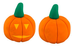 Jack o lanterns and pumpkin made from clay Stock Photography