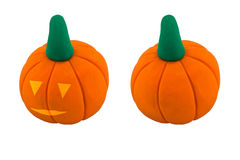 Jack o lanterns and pumpkin made from clay Royalty Free Stock Photos