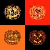 Jack-o-lanterns. Set of four abstract Jack-o-lanterns Stock Image