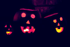 Jack-O-Lanterns. Traditionally carved pumpkins ready to celebrate the eery nights of Halloween Stock Photo