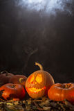 Jack-o-latern in smoke Royalty Free Stock Images