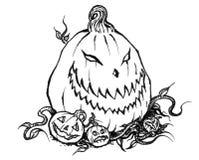 Jack-o-linterna asustadiza de Halloween con las calabazas del bebé stock de ilustración