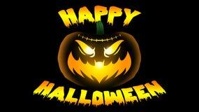 Jack-o-linterna de Halloween que brilla intensamente con la boca del palo ilustración del vector