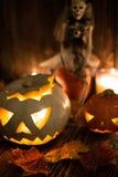 Jack-o-linternas fantasmagóricas de Halloween Fotos de archivo libres de regalías
