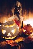 Jack-o-linternas fantasmagóricas de Halloween Fotografía de archivo