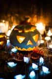 Jack-o-linternas fantasmagóricas de Halloween Imagen de archivo libre de regalías