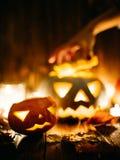 Jack-o-linternas fantasmagóricas de Halloween Imágenes de archivo libres de regalías