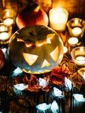 Jack-o-linternas fantasmagóricas de Halloween Imagen de archivo