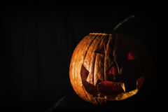 Jack O' Lantern Dark Room Royalty Free Stock Photos