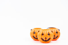 Jack o& x27;lantern pumpkinhead plastic on white background used for Stock Images