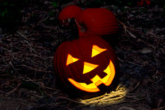 Jack o'lantern on a spooky night background Royalty Free Stock Photography