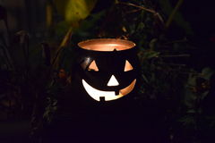Jack o&#x27 ; Lanterne la nuit Images stock