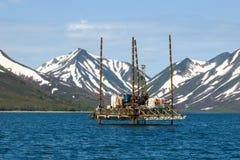Jack oben Ölplattform auf Förderplattform stockfotos