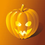 Jack OLantern. Halloween orange shiny highlighted pumpkin stock illustration