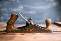 Jack-plane on wooden table, small dof Stock Image