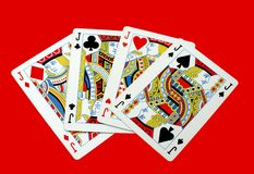 Jack playing card. Knave. game. gambling cards. Isolated gambling playing cards of a traditional game. Jack cards of all four suits Stock Photography