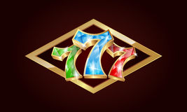 Jack pot 777 gems. Jackpot gold banner with the numbers 777, which is made from gemstones royalty free illustration