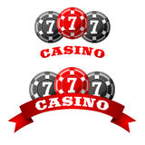 Jack pot icon with triple seven on chips Stock Photos