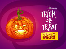Jack pumpkin with lettering card Stock Photography