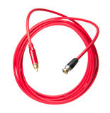 Jack red cables. Audio video jack and BNC jack red cables isolated on white background Royalty Free Stock Images