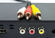 Jack red  and yellow white cables royalty free stock photos