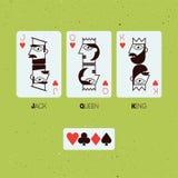 Jack, reine et roi Cartes jouantes stylisées Illustration de vecteur illustration libre de droits