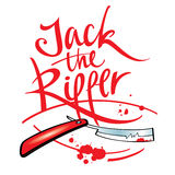 Jack the Ripper. Maniac killer razor blade blood drop splash Royalty Free Stock Photos