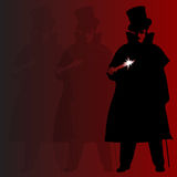 Jack The Ripper Background. A Jack the Ripper background with shadowa and silhouette over a red background Stock Photo