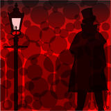 Jack The Ripper Background. A Jack the Ripper background with shadowa and silhouette over a red background Royalty Free Stock Photo