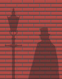 Jack The Ripper Brick Wall Shadow. A Jack The Ripper Brick Wall Shadow Design Background Royalty Free Stock Photos