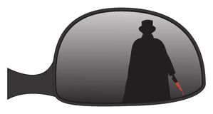 Jack The Ripper In Car Side Mirror. Jack the Ripper in a car side mirror isolated on a white background Royalty Free Stock Photos