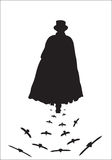 Jack the Ripper with Crows. A silhouette of Jack the ripper walking with crows isolated on a white background Stock Images