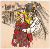 Jack the Ripper - An hand drawn vector. An hand drawn vector, JACK THE RIPPER and his victim. Killer with the knife threatening a young woman in old London city Royalty Free Stock Photos
