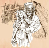 Jack the Ripper - An hand drawn vector. An hand drawn vector - JACK THE RIPPER and his victim. An killer with the knife threatening a young woman in old London Stock Images