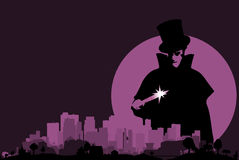 Jack Ripper. Jack the Ripper hovering over a purple cityscape with a full moon Stock Photo