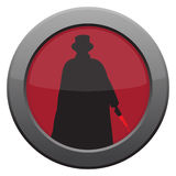 Jack The Ripper Knife Icon. A Jack the ripper with knife icon in red isolated on a white background Stock Photo