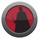 Jack The Ripper With Knife Icon. A Jack the ripper with knife icon in red isolated on a white background Stock Photography