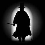 Jack the Ripper Silhouette. Jack the Ripper walking through a dark alleyway with the light behind Royalty Free Stock Image