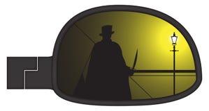 Jack The Ripper In Smashed-Auto-Seiten-Spiegel Lizenzfreies Stockfoto