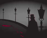 Jack The Ripper On The Street. A silhouette of Jack The Ripper On The Street with blood stains Royalty Free Stock Image