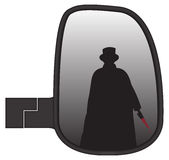 Jack The Ripper In Truck Side Mirror. Jack the ripper in a truck or van side mirror isolated on a white background Royalty Free Stock Images