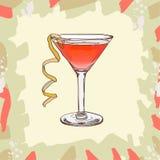 Jack Rose cocktail illustration. Alcoholic classic bar drink hand drawn vector. Pop art stock illustration