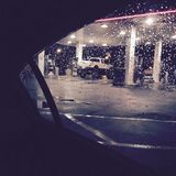 Jack ruilen bij het benzinestation Stock Foto's