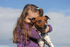 Jack russel terrier and child Royalty Free Stock Photos