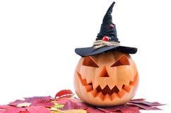 Jack ` s głowa lampion rzeźbił od bani dla Halloween Fotografia Stock