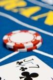 Jack seven. Blackjack hand on a blackjack table Stock Photos