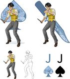 Jack of spades asian brawling man Mafia card set Stock Image